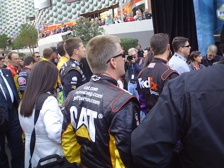 Drivers waiting to be called on stage