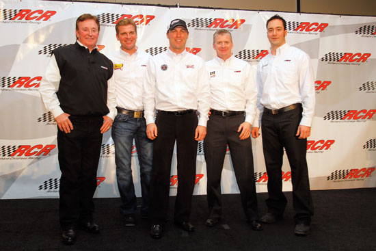 (Left to right) Richard Childress, team owner; Clint Bowyer, driver of the No. 33 Cheerios Chevrolet; Kevin Harvick, driver of the No. 29 Budweiser Chevrolet; Jeff Burton, driver of the No. 22 Caterpillar Chevrolet, and Paul Menard, driver of the No. 27 Menard's Chevrolet, pose for the media during the NASCAR Sprint Media Tour hosted by Charlotte Motor Speedway, held at Richard Childress Racing on Tuesday in Welcome, N.C.(Credit: Jason Smith/Getty Images for NASCAR)