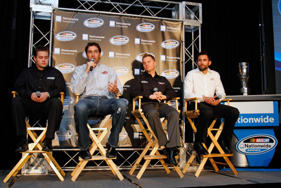 NASCAR Nationwide Series driver Elliott Sadler, (second from left) speaks with the media, as drivers (left to right) Ricky Stenhouse Jr., Jason Leffler, and Aric Almirola look on, during the NASCAR Sprint Media Tour hosted by Charlotte Motor Speedway, held at Hilton University on Tuesday in Charlotte, N.C.(Credit: Jason Smith/Getty Images for NASCAR)