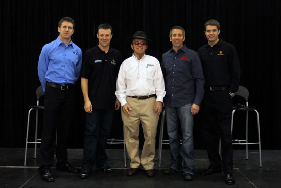 Team owner Jack Roush (center) poses with drivers (left to right) Carl Edwards, Matt Kenseth, Greg Biffle and David Ragan, during the NASCAR Sprint Media Tour hosted by Charlotte Motor Speedway, held at the Roush-Fenway hanger of Concord Regional Airport, on Thursday in Concord, N.C. (Credit: Jason Smith/Getty Images for NASCAR)