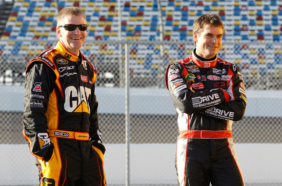 Jeff Burton and Jeff Gordon share a laugh together during Budweiser Shootout practice at Daytona International Speedway in Daytona Beach, Fla. (Credit: Todd Warshaw/Getty Images for NASCAR)