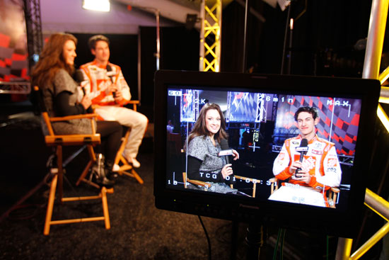 NASCAR Sprint Cup Series driver Joey Logano speaks to ESPNs Nicole Briscoe during media day Thursday at Daytona International Speedway in Daytona Beach, Fla. (Credit: Todd Warshaw/Getty Images for NASCAR)