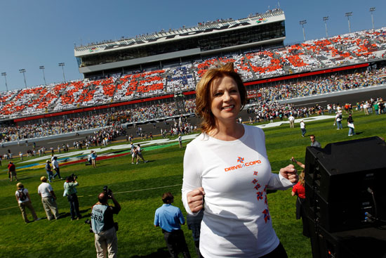 National Anthem singer Patty Loveless shows her support for Drive4COPD Saturday at Daytona International Speedway in Daytona Beach, Fla. (Credit: Tom Pennington/Getty Images for NASCAR)