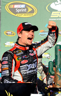 Jeff Gordon celebrates his SUBWAY Fresh Fit 500 at Phoenix International Raceway. The victory was the 83rd of his career, tying him with Cale Yarborough for fifth on the all-time wins list. (Credit: Jared C. Tilton/Getty Images for NASCAR)