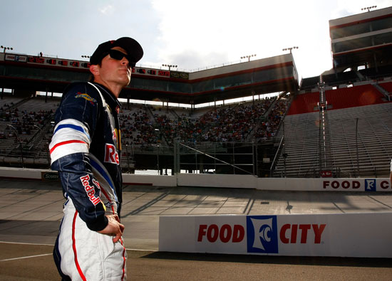 Kasey Kahne watches practice at Bristol Motor Speedway. Kahne was fourth fastest in practice with a top speed of 127.929mph. (Credit: Geoff Burke/Getty Images for NASCAR)