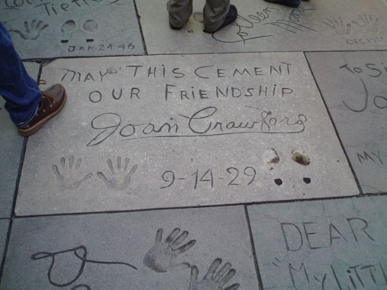 Joan Crawford's hand & footprints at Grauman's