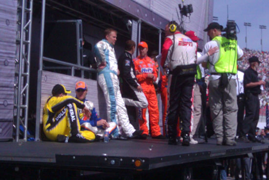 Backstage at driver introductions for the Nationwide Series Sam's Town 300