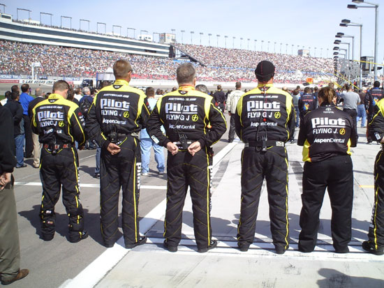 The pit crew for the No. 62 Pilot Flying J Coffee Toyota