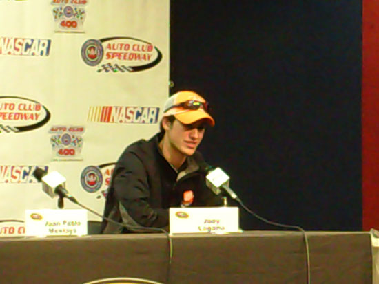 Joey Logano speaks with the media post-qualifying at Auto Club Speedway