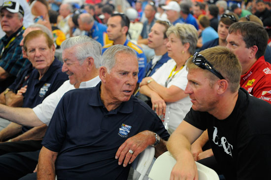Clint Bowyer gets some last minute pointers from NASCAR Hall of Famer David Pearson in the Drivers Meeting before the NASCAR Sprint All Star Race at Charlotte Motor Speedway. (Credit: John Harrelson/Getty Images for NASCAR)