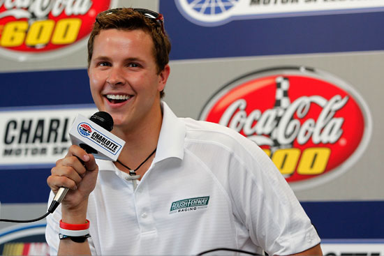 Daytona 500 winner Trevor Bayne meets media on Thursday at Charlotte Motor Speedway in Concord, N.C. to talk about his return to racing next weekend after battling an illness for several weeks. (Credit: Geoff Burke/Getty Images for NASCAR)