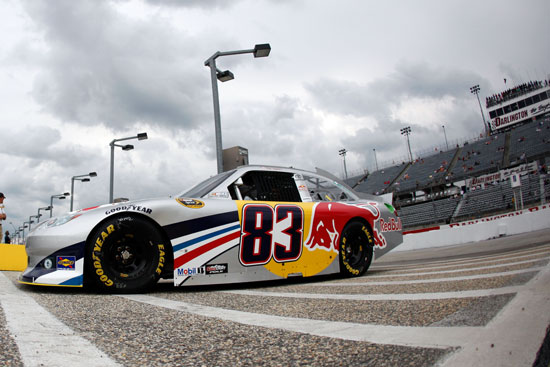 Brian Vickers, driver of the No. 83 Red Bull Toyota, pulls into the garage area during practice for the NASCAR Sprint Cup Series SHOWTIME Southern 500 at Darlington Raceway on May 6 in Darlington, S.C. (Credit: Chris Graythen, Getty Images for NASCAR)