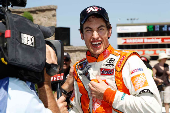 Joey Logano celebrates his win in the NASCAR K&N Pro Series West.(Credit: Getty Images for NASCAR)