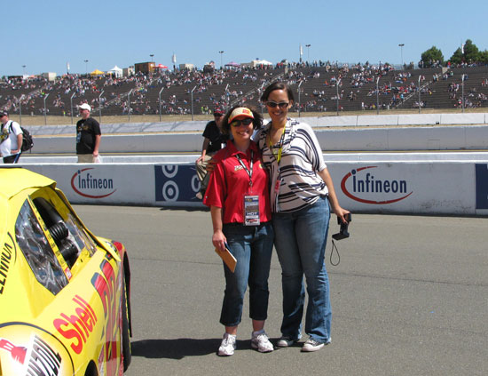 Kristen and I on pit road before the start of the race!