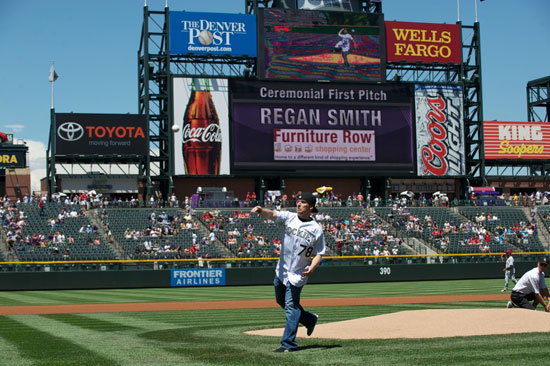 Regan Smith throws out the first pitch at the Colorado Rockies-Philadelphia Phillies baseball game