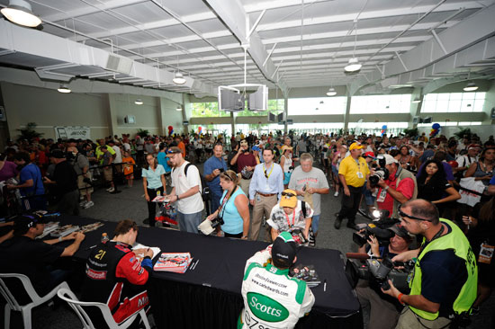 A view from inside the largest 2011 NASCAR Sprint Sup Series autograph session at the Indianapolis Motor Speedway on July 30 in Indianapolis, Ind. (Credit: Getty Images for NASCAR)