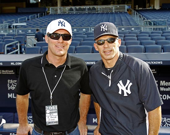 NASCAR Sprint Cup Series driver Kevin Harvick meets New York Yankees manager Joe Girardi on Wednesday at Yankee Stadium in the Bronx, N.Y. before the Los Angeles Angels-New York Yankees game. (Credit: New York Yankees)
