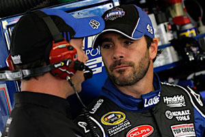 Jimmie Johnson, driver of the No. 48 Lowe's Chevrolet, at the Aug. 7 NASCAR Sprint Cup Series event at Pocono Raceway. (Courtesy of Hendrick Motorsports)