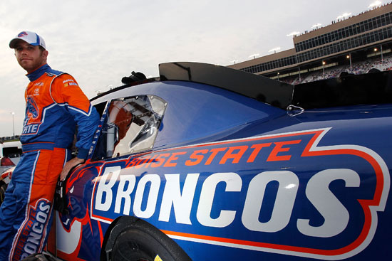 Brian Scott, driver of the No. 11 Boise State Broncos Toyota, looks on prior to the NASCAR Nationwide Series Great Clips 300 at Atlanta Motor Speedway on Sept. 3 in Hampton, Ga. (Credit: Geoff Burke/Getty Images for NASCAR)