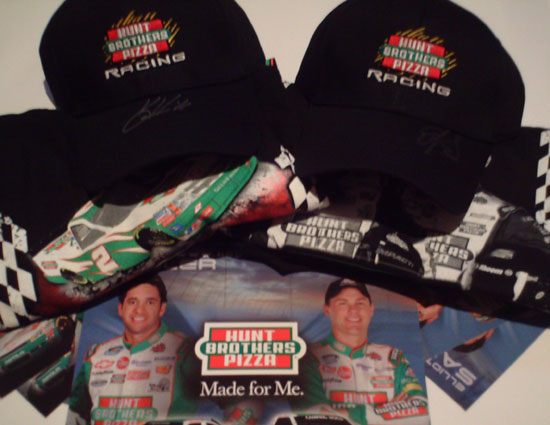 Hunt Brothers Pizza hats, t-shirts and hero cards