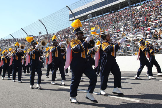 The North Carolina A&T State University Blue and Gold Marching Machine perform before the NASCAR Sprint Cup Series TUMS Fast Relief 500 at Martinsville Speedway on Sunday. (Credit: Tom Whitmore/Getty Images for NASCAR)