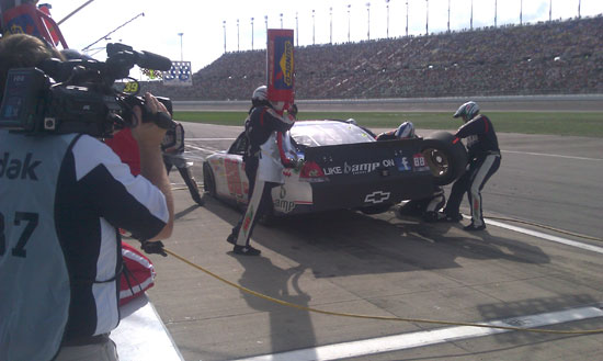The No. 88 National Guard / AMP Energy Chevrolet comes in for a pit stop