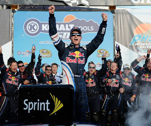 Kasey Kahne celebrates winning the 24th Annual Kobalt Tools 500, his 12th victory in 287 NASCAR Sprint Cup Series races. Last win was Sept. 6, 2009 at Atlanta Motor Speedway. This breaks an 81-race winless streak. (Credit: Jared C. Tilton/Getty Images for NASCAR)