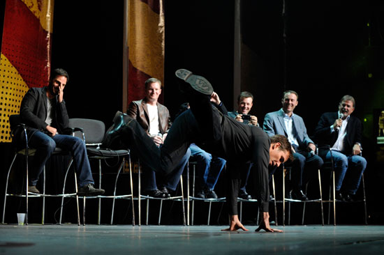 Jeff Gordon shows off his breakdancing skills during NASCAR After the Lap at The Joint inside the Hard Rock Hotel & Casino on Dec. 1, 2011, in Las Vegas, Nev. (Credit: David Becker/Getty Images for NASCAR)