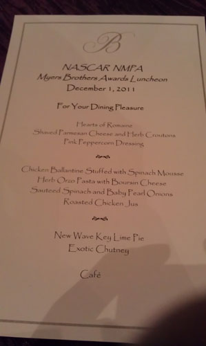 The menu for the NASCAR NMPA Myers Bros Awards Luncheon