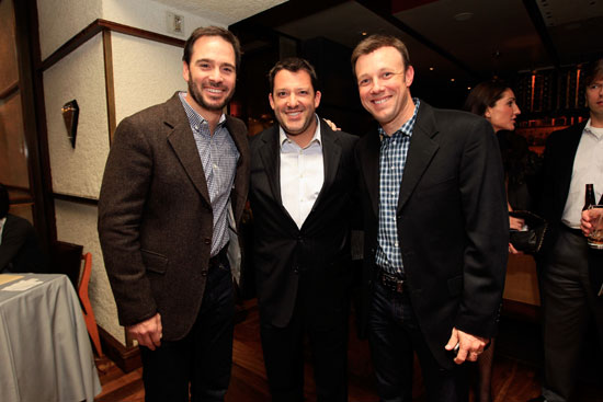 Drivers Jimmie Johnson, Tony Stewart and Matt Kenseth attend the NASCAR Evening Series during the NASCAR Sprint Cup Series Champion's Week at Tom Colicchio's Craftsteak inside the MGM Grand Hotel/Casino on Nov. 30, 2011, in Las Vegas, Nev. (Credit: Chris Trotman/Getty Images for NASCAR)