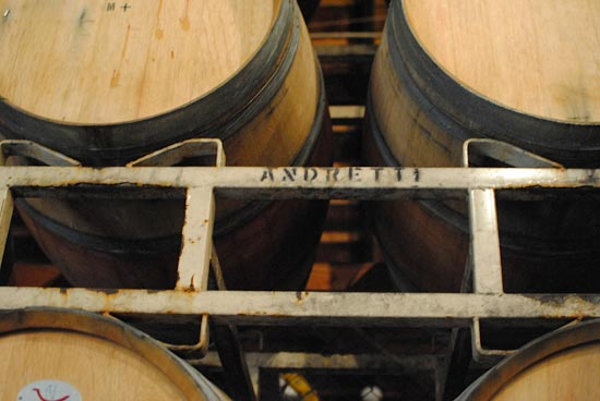 Wine barrels in the cellar room