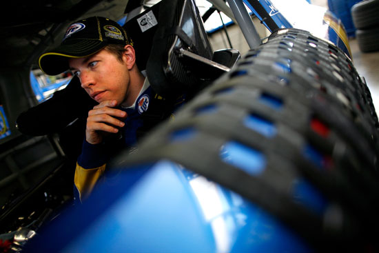 Brad Keselowski, driver of the No. 2 Miller Lite Dodge, sits in his car in the garage during practice for the NASCAR Sprint Cup Series Kobalt Tools 400 at Las Vegas Motor Speedway on March 9 in Las Vegas, Nev. (Credit: Tom Pennington/Getty Images)
