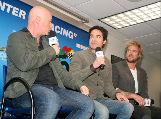 Before performing the national anthem for the Daytona 500, Pat Monahan talks with his Train band mates in the Daytona International Speedway media center. (Credit: ISC Images and Archives)
