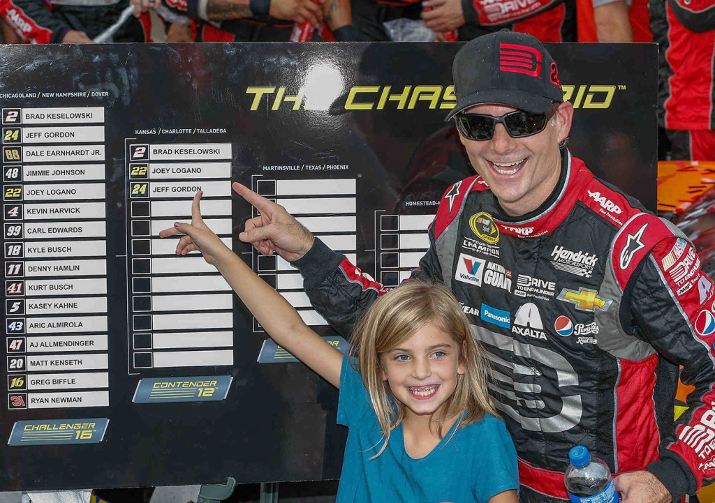 Jeff Gordon, driver of the #24 Drive To End Hunger Chevrolet SS celebrates his victory with his daughter, Ella Sofia Sunday, September 28, 2014 in the Chase Challenger 16 NASCAR Sprint Cup race at Dover International Speedway in Dover, Delaware. Gordon advances to the Contender 12 phase of the Chase which begins next Sunday at Kansas Speedway.  (Photo by Gregg Ellman/HHP for Chevy Racing)